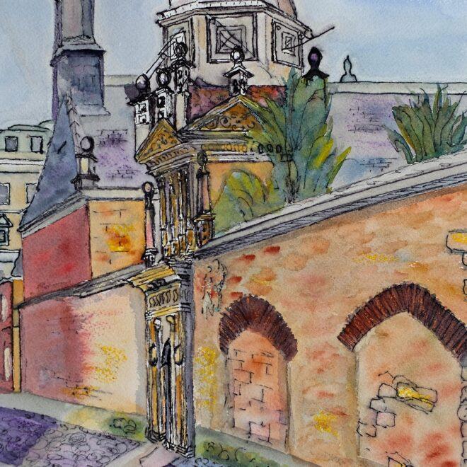 Senate House Passage towards Gonville & Caius Clocktower by Pamela Barrell