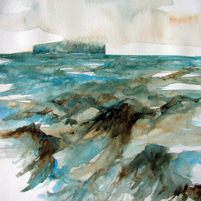 Low Cloud and Stormy Sea by Lesley Rumble