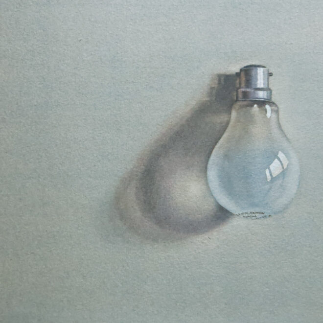 Light bulb. Watercolour by Lillias August ©
