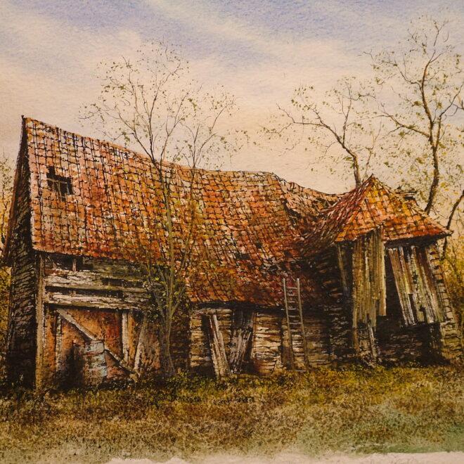 Derelict Barn, Pebmarsh by Reg Siger