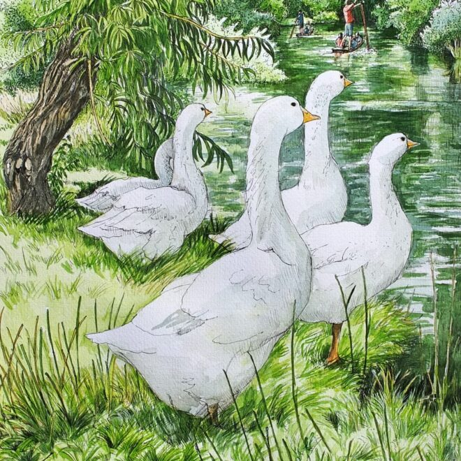 Geese by the river by Fran Godwood