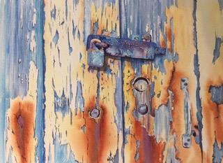 Rusty Lock. Watercolour by Denise Schoenberg