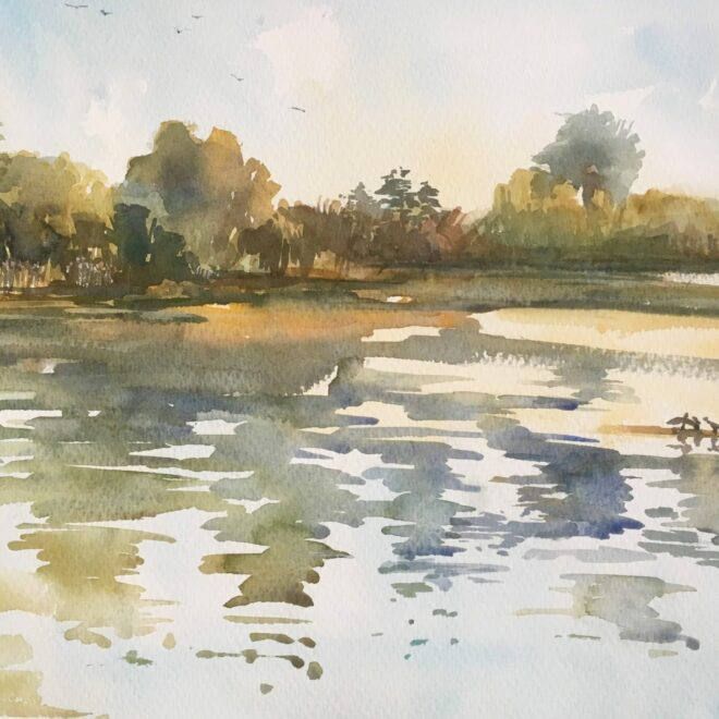 Lackford cormorants by Penny Newman (unframed)