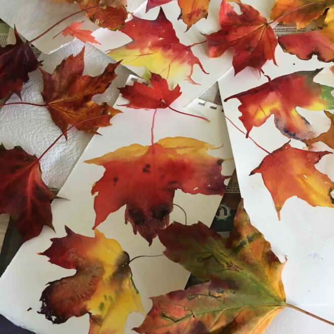 Leaves-natural-and-painted-Helen-Clarke