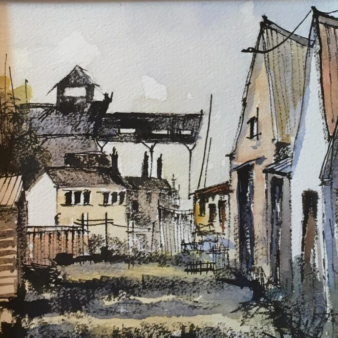 The old whelk sheds, Wells by Penny Newman (unframed)