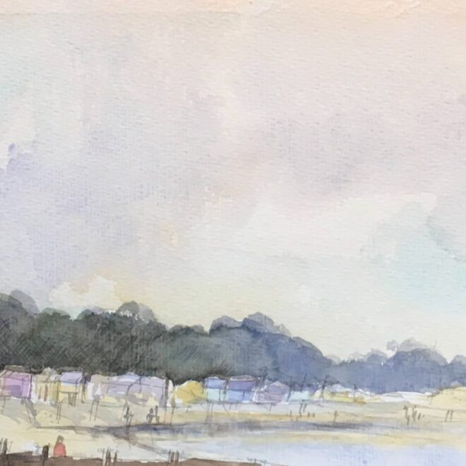 Wells beach huts by Penny Newman (framed)