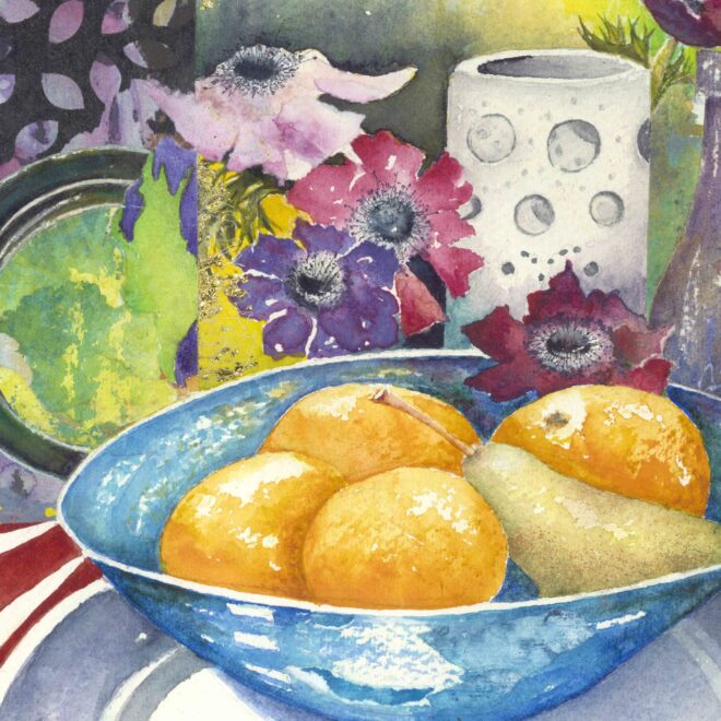 Oranges-in-blue-bowl-by-Pat-Stoten