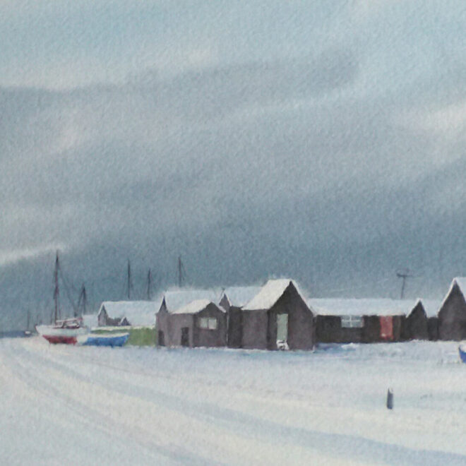 Southwold Blackshore in the snow by Anthony Osler