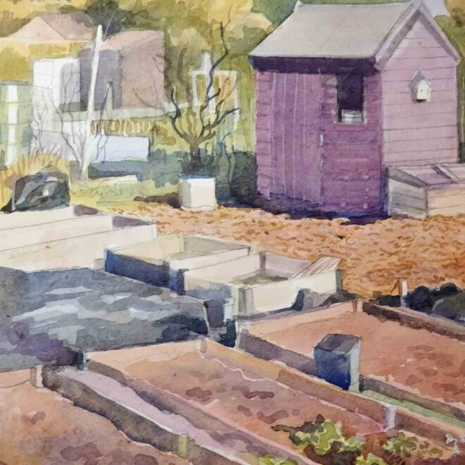 'Purple-Allotment-Shed,-watercolour,-Helen-Otter