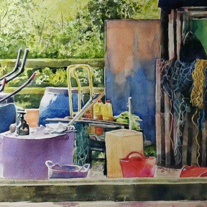 'Yard'-watercolour,-Helen-Otter