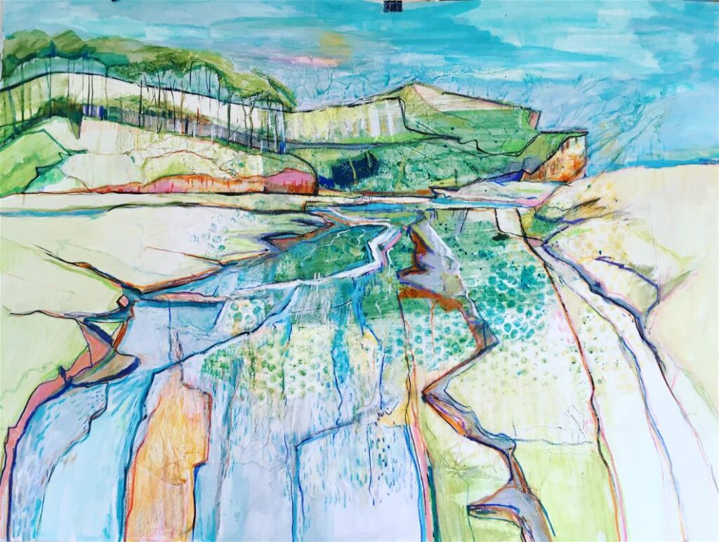 Lesley Munro - Beach channels and distant pines