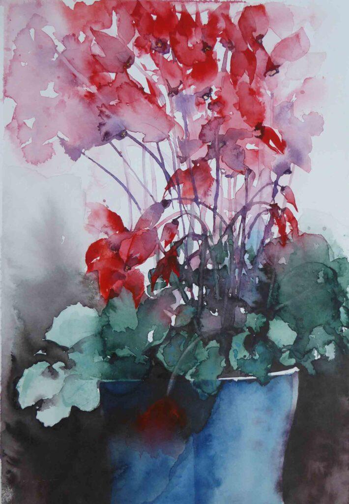 Red Cyclamen by Carol Whitehouse
