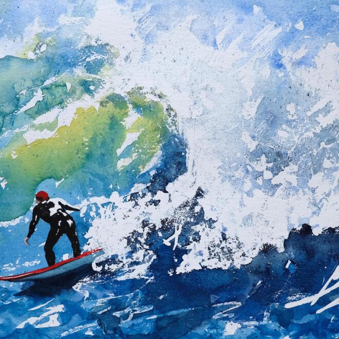 Ros Ridley. Riding the Surf