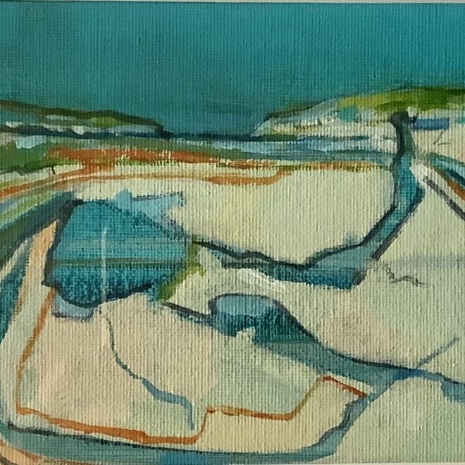 Beach Channels and distant dunes by Lesley Munro
