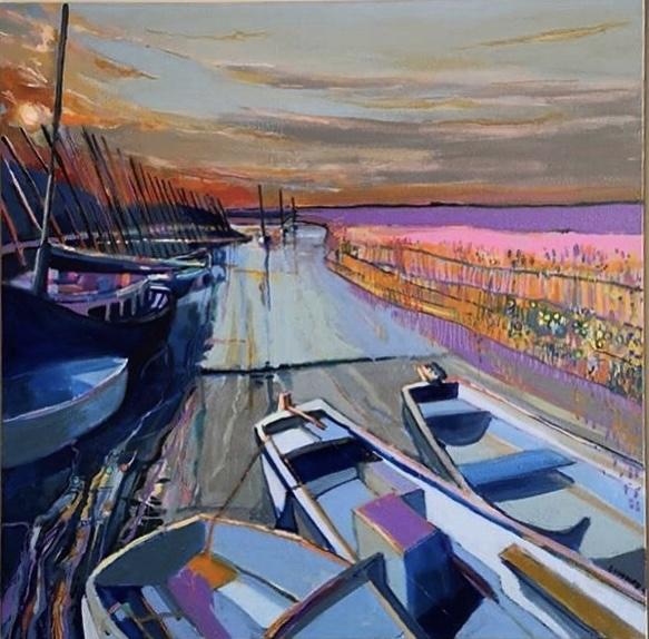 Sunset Blakeney Quay Lesley Munro